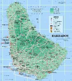 Туристическая карта острова барбадос